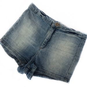Topshop Shorts - Topshop Moto High-Waisted Light Wash Shorts